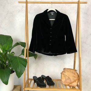 Vintage 90s Black Silk Ruched Formal Blazer Jacket